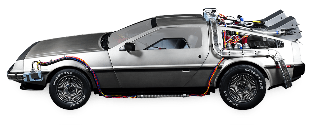 Side view of the Back to the Future DeLorean model car