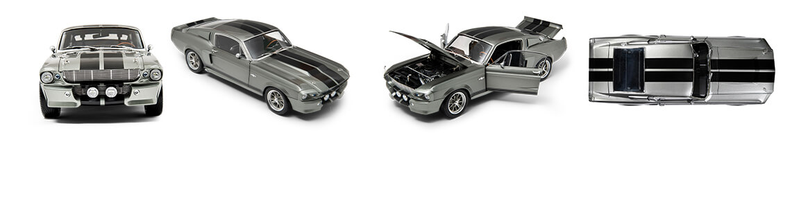 Eleanor Mustang diecast model shown at four different angles