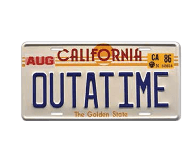 Delorean license plate
