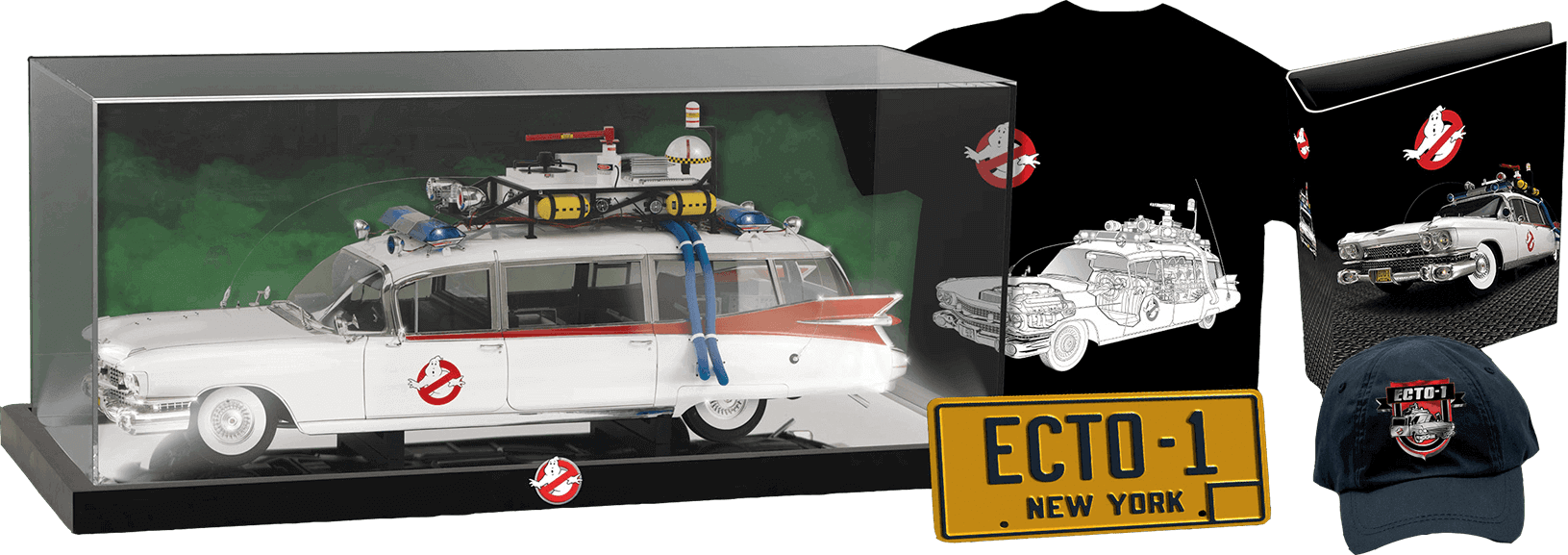 Glass case for the Ghostbusters Ecto-1 model, Ghostbusters t-shirt, binder, Ecto-1 licence plate, baseball cap with Ecto-1 motif