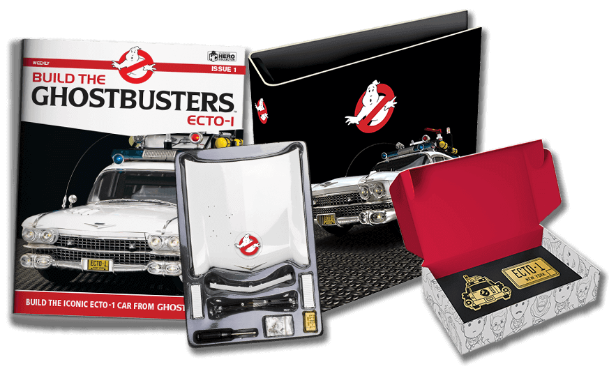 Ghostbusters Ecto-1 model subscription kit with magazine, parts, binder and badge set