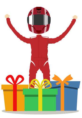Cartoon figure in red racing car outfit adn crash helmet stading behind gift boxes with arms aloft