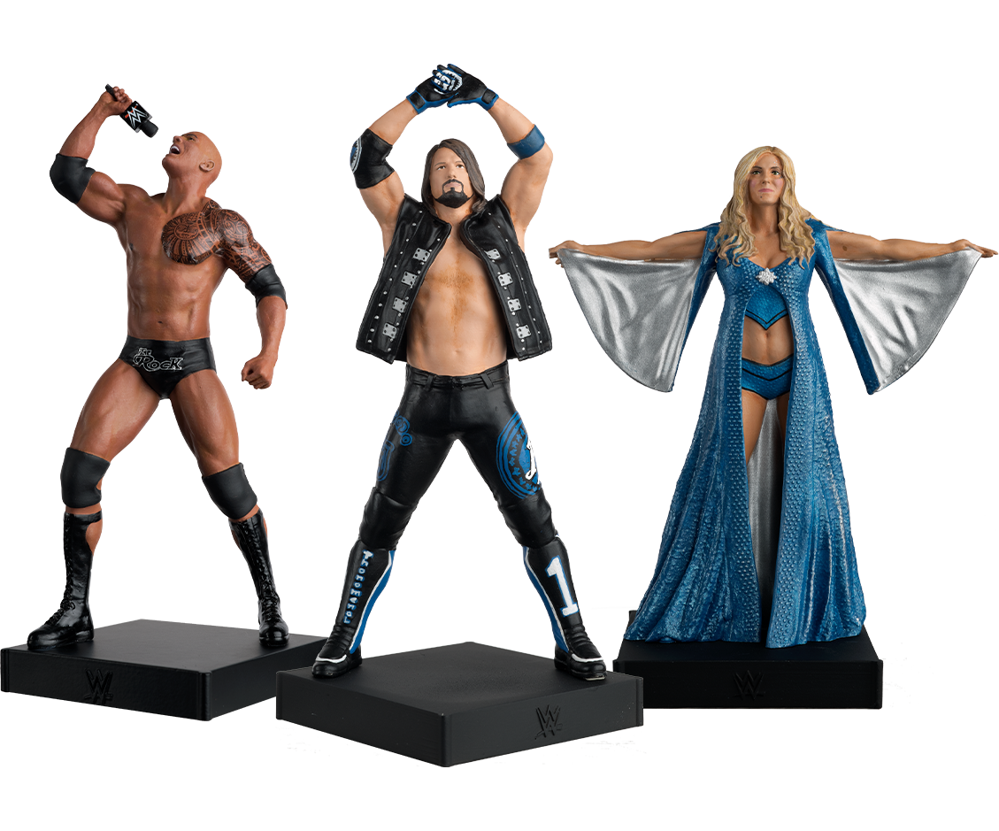 The Rock, AJ Styles, and Charlotte Flair figurines