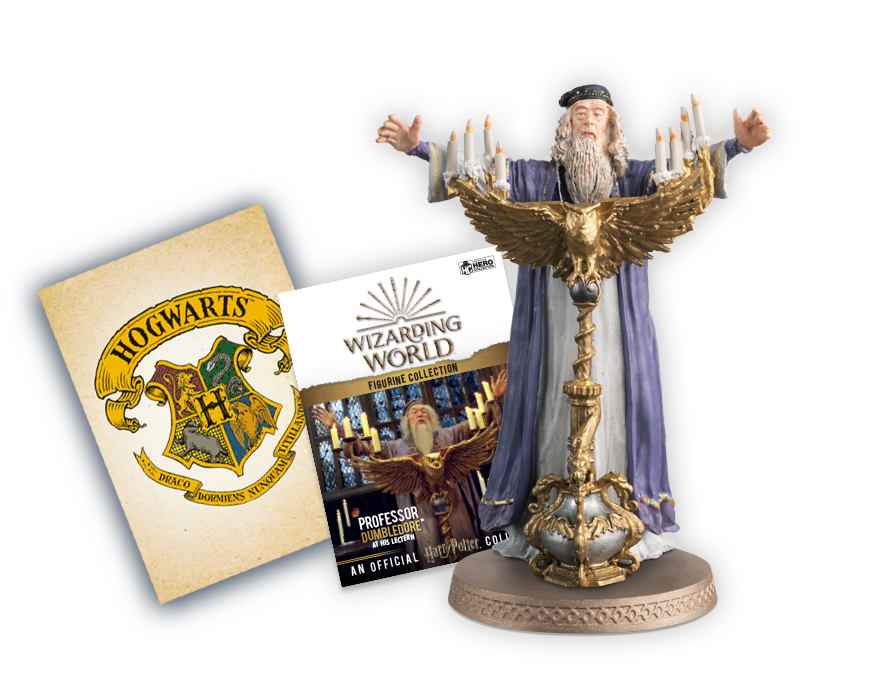 Dumbledore at his lectern, plus accompanying collector's magazine & art print